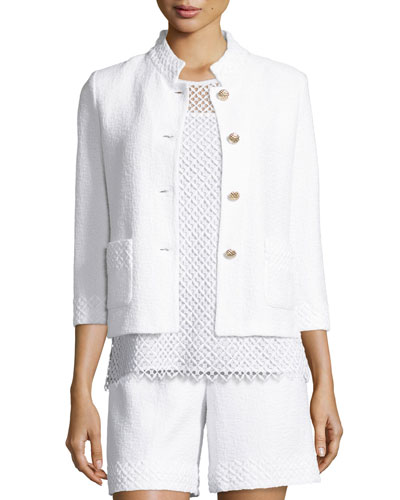 Clair Lace-Trim 3/4-Sleeve Jacket, Bianco