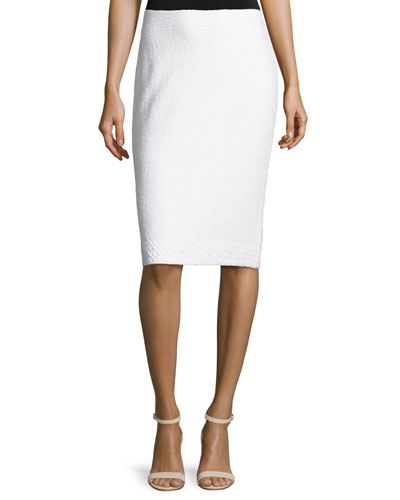 Clair Lace-Trim Knit Pencil Skirt, Bianco