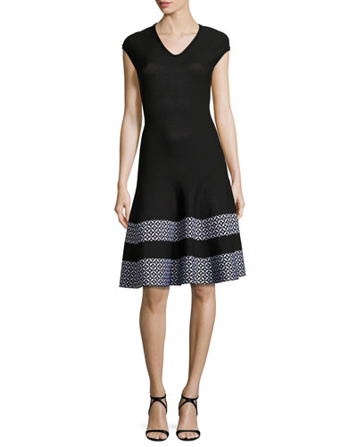 Pinwheel Jacquard Cap-Sleeve Dress, Caviar/Bianco