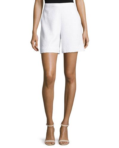 Clair Lace-Trim Knit Shorts, Bianco
