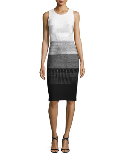Linear Degrade Knit Sheath Dress, Bianco/Caviar