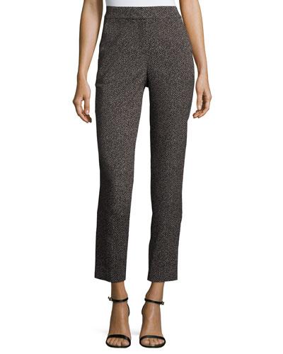 Emma Pin-Dot Cropped Pants, Caviar/Bianco