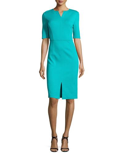 Milano Knit V-Neck Half-Sleeve Dress, Laguna