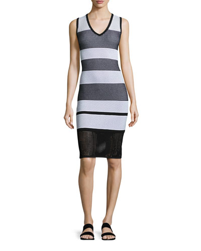 Striped Pointelle V-Neck Dress, Caviar/Bianco