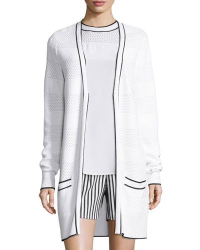Pointelle-Knit V-Neck Long Cardigan, Bianco/Caviar