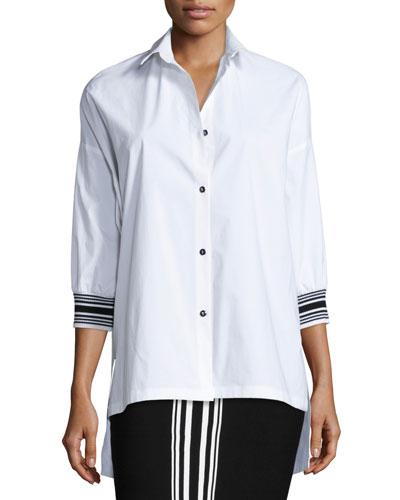 Techno Cotton High-Low Blouse, Bianco