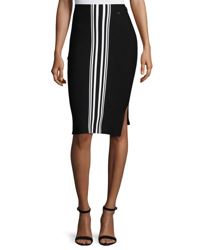 Striped Intarsia Pencil Skirt, Caviar/Bianco
