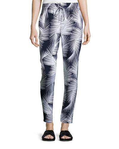 Palm-Print Drawstring Pants, Navy/Bianco