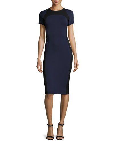 Luxe Sculpture Knit Short-Sleeve Dress, Navy/Caviar