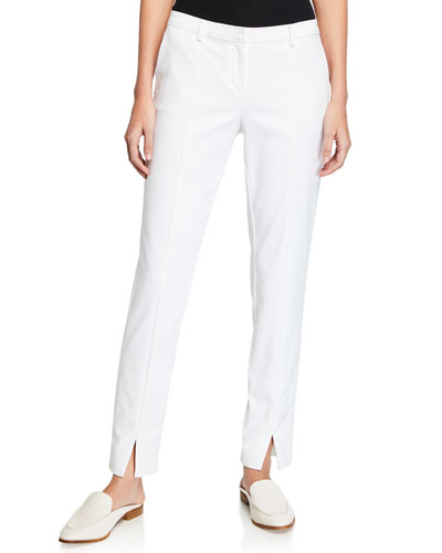 Jennifer Stretch Micro Ottoman Ankle Pants, Bianco