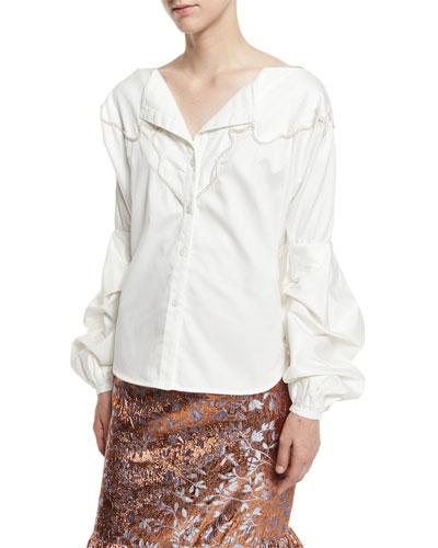 Anna Beth Embroidered-Yoke Bishop-Sleeve Blouse, White