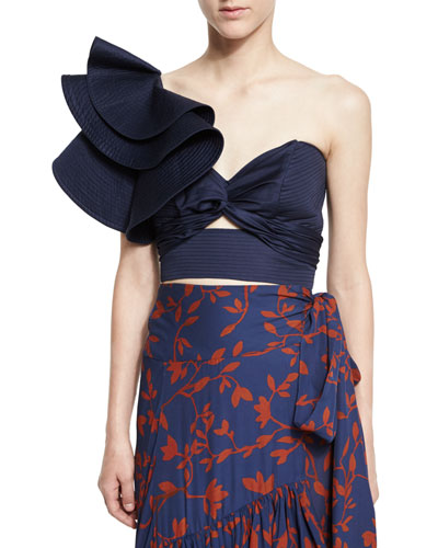 Cleopatra Large-Ruffle One-Shoulder Bandeau Top, Navy