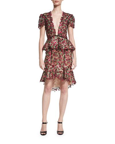 Julia Cornelia Floral-Lace V-Neck Dress, Red/Pink/Green