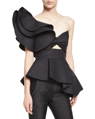 Maria de Medici Large-Ruffle One-Shoulder Bandeau Top, Black