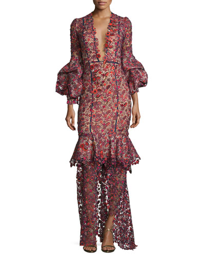 Molly Bloom Floral-Lace V-Neck Gown, Red