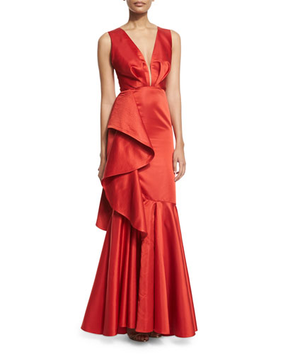 Princess Victoria Ruffled Deep-V Sleeveless Gown, Red