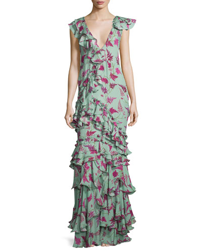 Queen Elizabeth Floral Tiered Gown, Light Teal/Pink