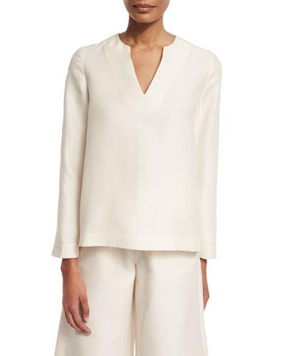 Long-Sleeve V-Neck Tunic, Ivory