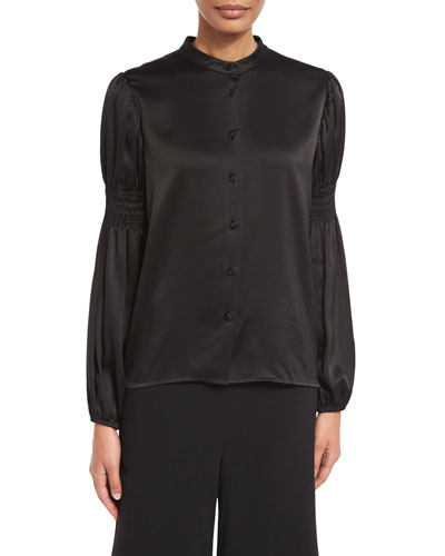 Shirred-Sleeve Stand-Collar Blouse, Black