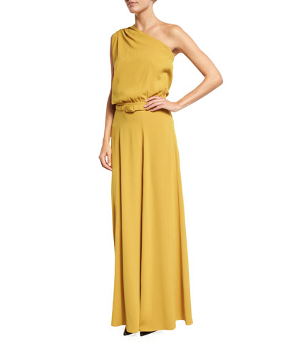 Draped One-Shoulder Belted Gown, Marigold