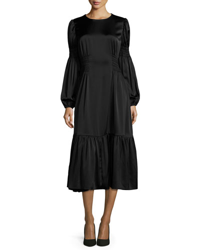 Ruched-Waist Flounce Midi Dress, Black