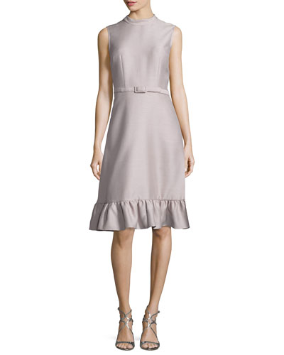 Sleeveless Belted Ruffled-Hem Dress, Mauve