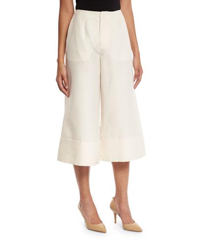 Large-Cuff Culotte Pants, Ivory