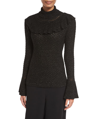 Ruffled-Trim Turtleneck Sweater, Black