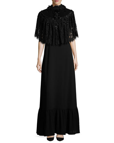 Detachable-Cape Belted Gown, Black