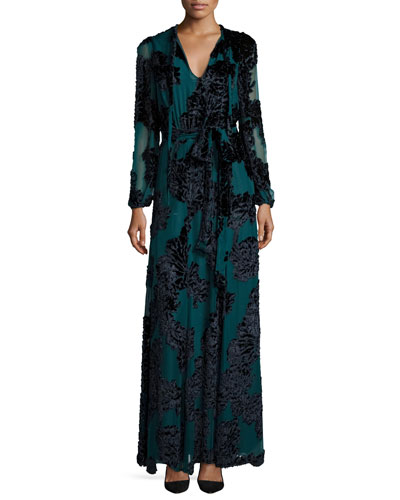 Tie-Neck Long-Sleeve Velvet Gown, Teal