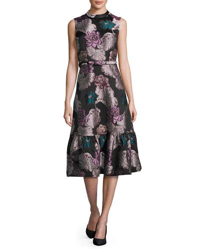 Belted Floral Brocade Sleeveless Flounce Dress, Multi