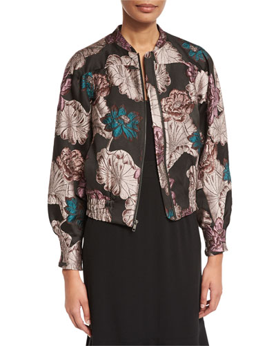 Floral Brocade Zip Bomber Jacket, Multi
