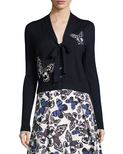 Butterfly-Appliqué Tie-Neck Cardigan, Navy