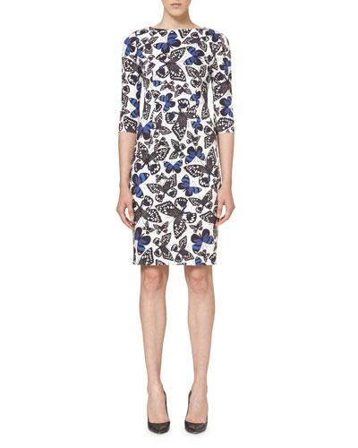 Butterfly-Print Half-Sleeve Dress, Black/White