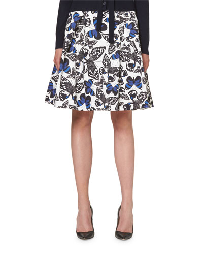 Butterfly-Print A-Line Party Skirt, Black/White