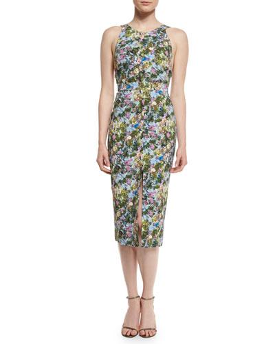 Floral Open-Back Sleeveless Dress, Floral