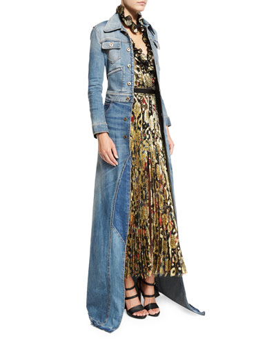 Long-Sleeve Maxi Jean Jacket, Denim