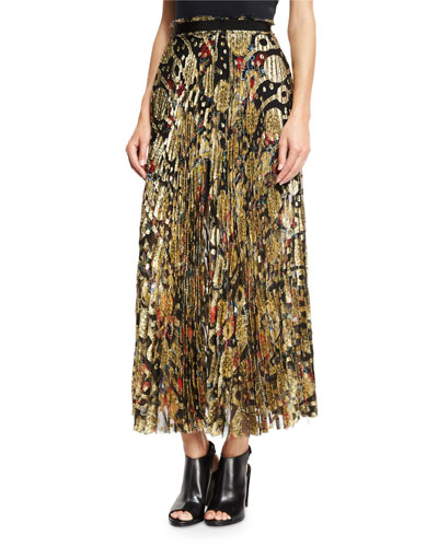 Pleated Metallic-Embroidered Maxi Skirt, Gold