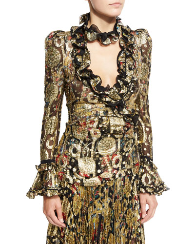 Metallic-Embroidered Long-Sleeve Blouse, Gold