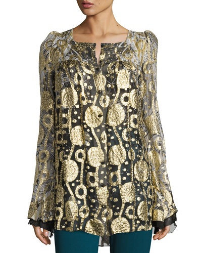 Glitter Chiffon Bell-Sleeve Blouse, Gold