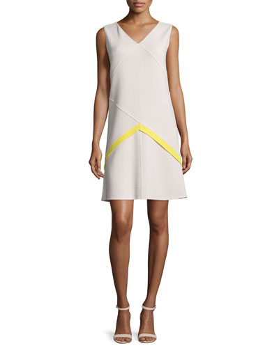 Sleeveless V-Neck Shift Dress, Citron