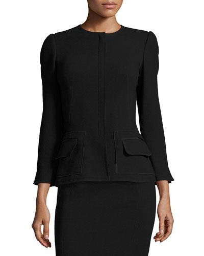 Flap-Pocket 3/4-Sleeve Jacket, Black