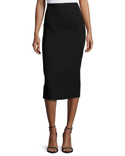 Wool-Blend Pencil Midi Skirt, Black