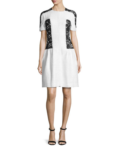 Short-Sleeve Lace-Inset Dress, White/Black