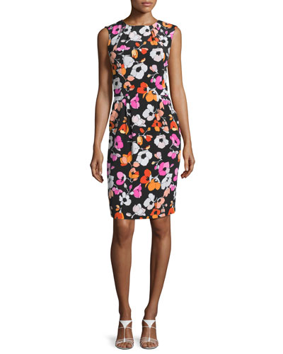 Sleeveless Mixed Poppy-Print Dress, Black