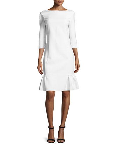 Half-Sleeve Ruffle-Hem Sheath Dress, Vanilla