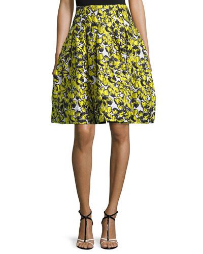 Floral Cloque A-Line Skirt, Citron