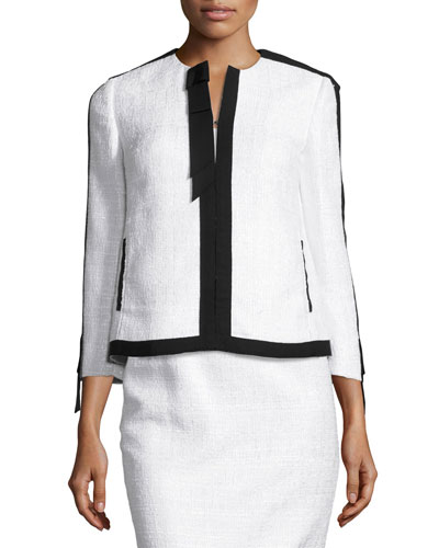 Contrast-Trim Tweed Jacket, White/Black