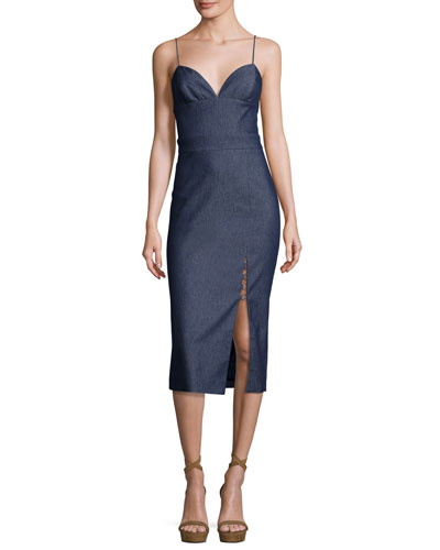 Sleeveless Chambray Front-Slit Midi Dress, Denim