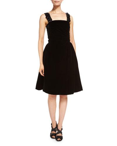 Sleeveless Square-Neck Velvet Cocktail Dress, Black